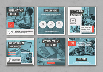 Pale Blue and Gray Social Media Layout Set with Red  Accents