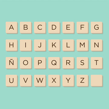 MurcAlphabet in letters game tiles. Isolate vector illustration to compose your own words and phrases.