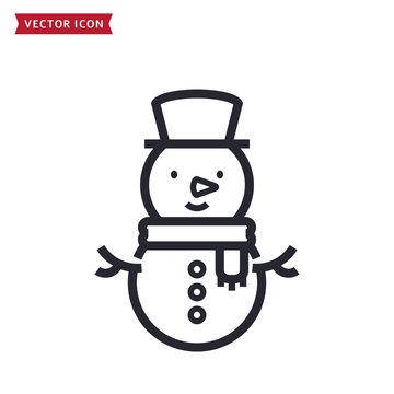 Snowman icon. Vector line symbol.