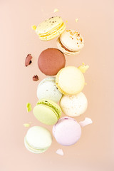 Flying Macaroons Cookies. Creative Food Photography