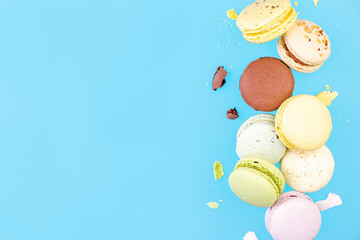Flying Macaroons . Border Background with Copy Space