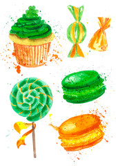 Illustration of a green cupcake,candies, orange sweets for St. Patrick's Day on a white background, menu design, greeting card.