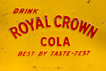 Royal Crown Cola logo on a vintage vending machine in Den Bosch, The Netherlands, on May 10, 2015