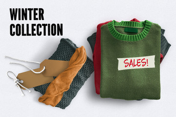 "winter sweatshirts and text ""Winter Collection - Sales!"" on white background"