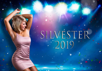 "blonde woman dancing in front of colorful background with the text ""Silvester 2019"""