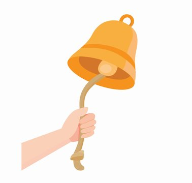 hand ringing bell with rope icon in flat illustration vector
