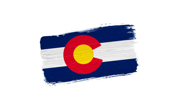 brush painted flag State of Colorado isolated on white background