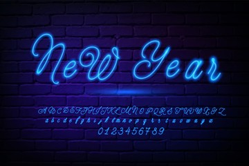 Glowing neon script alphabet. Blue Neon font with uppercase and lowercase letters. Handwritten english alphabet with neon light effect
