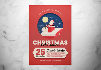 Christmas Celebration Event Flyer Layout with Santa