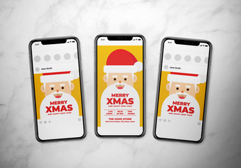 Christmas Social Media Layout with Santa Illustration