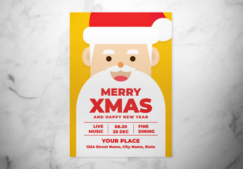 Christmas Flyer Layout with Santa Illustration