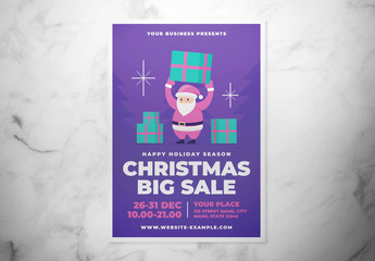 Christmas Sale Flyer Layout with Santa
