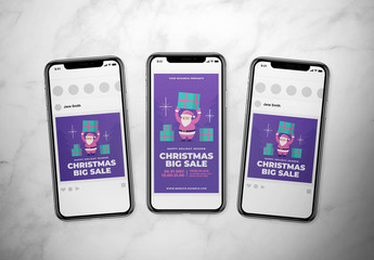 Christmas Sale Social Media Layout with Santa