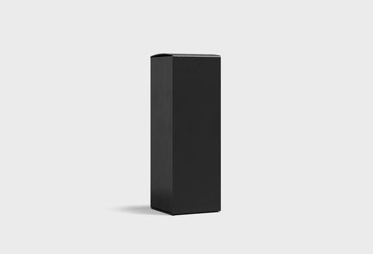 Blank Black Wine Box Mock up on light gray background.Cardboard Box. 3D rendering.