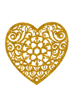 Lace heart with glitter