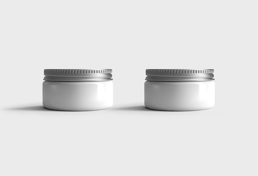 Realistic cosmetics Jars, Container Mock up isolated on light gray background.3D rendering.