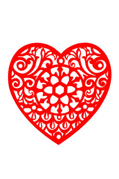 Lace heart in red