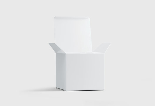 Open Blank Packaging Box Mock up isolated on soft gray background.3D rendering