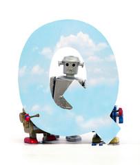 Fototapete - big letter Q cloud computing