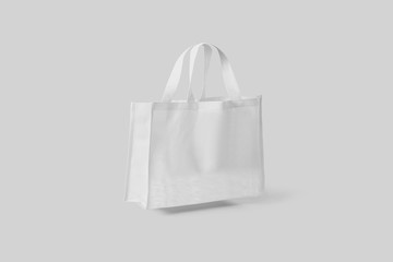 Tote Bag canvas Fabric Cloth shopping Sack Mock up blank template isolated on light gray background.3D rendering.