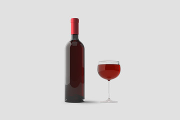 Glass of Red Wine and a Bottle isolated on light gray background.3D rendering.