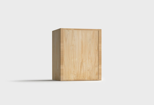Wooden Box side isolated on light gray background.Wood box.3D rendering.