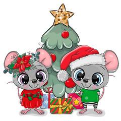 Cute cartoon mouses near the Cristmas Tree