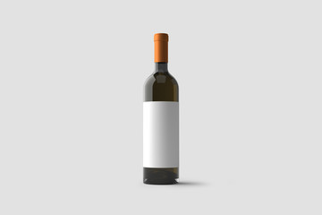 White Wine Bottle with label Mock up isolated on light gray background.3D rendering