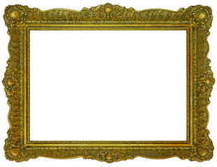Old wooden gilded rectangle Frame on white background
