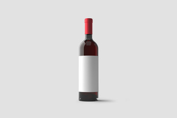 Red Wine Bottle with label Mock up isolated on light gray background.3D rendering