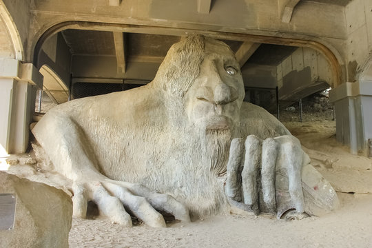 Seattle, Washington, USA - October 6, 2016- Fremont Troll, a favorite spot for Seattle visitor