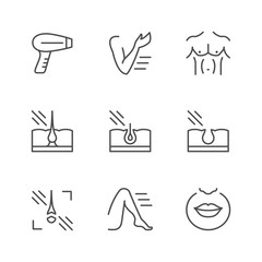 Set line icons of laser hair removal