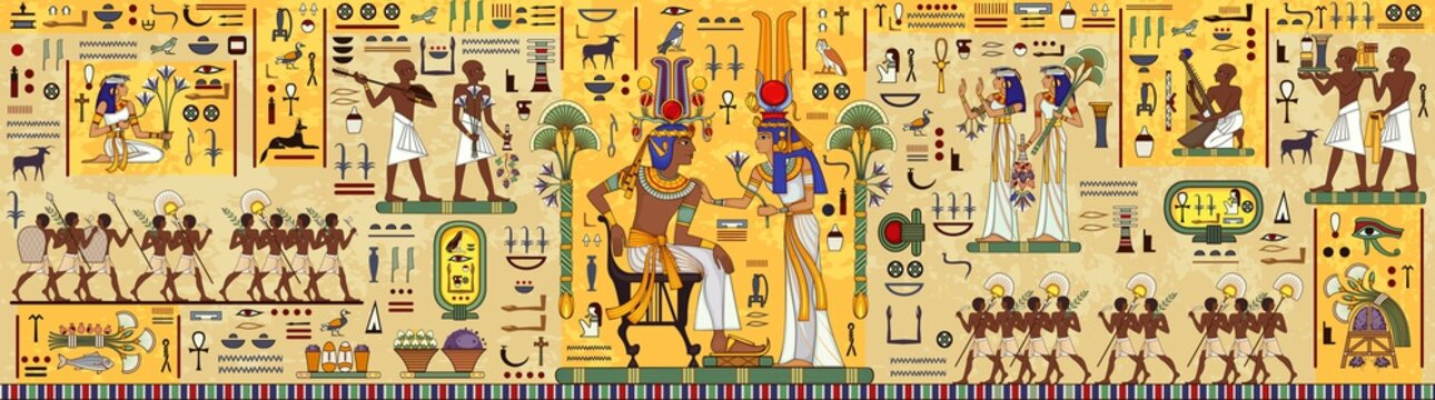 Egyptian hieroglyph and symbolAncient culture sing and symbol.Ancient egypt mural.Egyptian mythology.