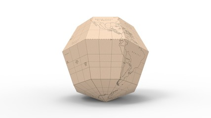 3d rendering of a polygon shape world map isolated in a studio background