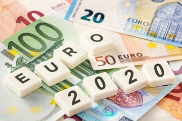 Euro banknote and symbolic 2020