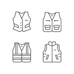 Set line icons of vest