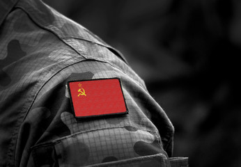 Flag of the Soviet Union on military uniform. The State Flag of the Union of Soviet Socialist Republics. Cold war. Collage.