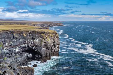 basaltic columns near Arnastapi at the wild rocky coast of Snaefellsness peninsula in western Iceland