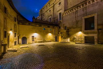 Night sight inside the walls of Castel Sant'Angelo in Rome, Italy.