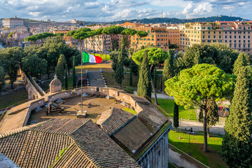 Panoramic sight from Castel Sant'Angelo terrace in Rome on a sunny afternoon. Italy.