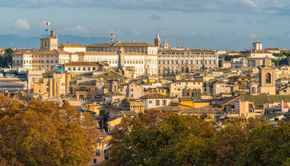 Quirinal Palace in Rome as seen from Castel Sant'Angelo terrace on a sunny autumn afternoon.