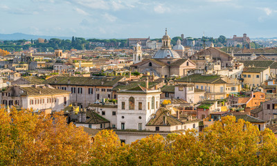 Rome skyline as seen from Castel Sant'Angelo on a sunny autumn afternoon.