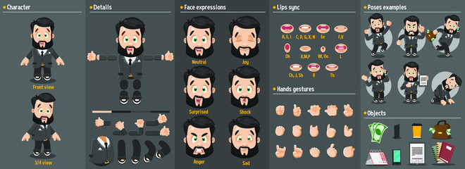 Cartoon brunet bearded man constructor for animation. Parts of body: legs, arms, face emotions, hands gestures, lips sync. Full length, front, three quater view. Set of ready to use poses, objects.