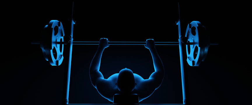 Weight lifter at the bench press. 3d illustration