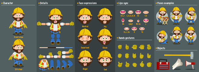 Cartoon builder man, foreman, worker in hardhat constructor for animation. Parts of body: legs, arms, face emotions, hands gestures, lips sync. Full length, front, three quarter view