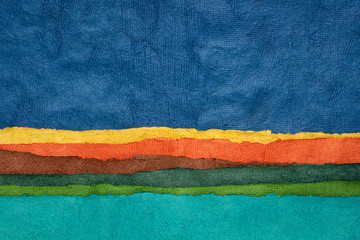 abstract landscape - colorful textured paper sheets Wall mural
