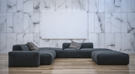 interior of a room with sofa and blank canvas frame. 3d Rendering