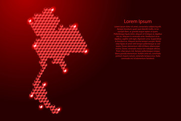 Thailand map from 3D red cubes isometric abstract concept, square pattern, angular geometric shape, for banner, poster. Vector illustration. Wall mural