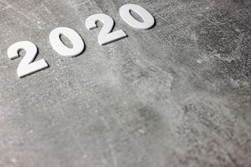 Fototapeta 2020 Nowy Rok, data, napis na betonowym tle