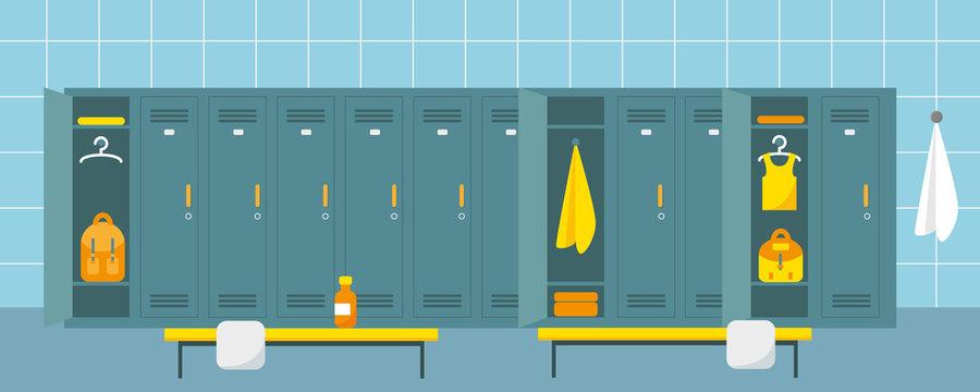 Locker room in fitness club or gym. Flat vector illustration.